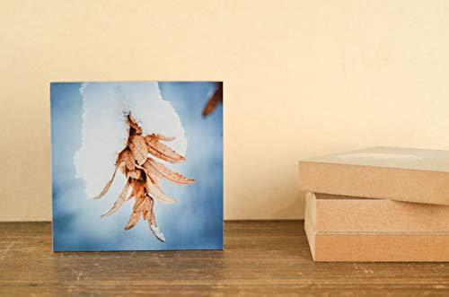 Winter Landschaft Schnee Natur Foto auf Holz, im Quadrat, 10 x 10 cm