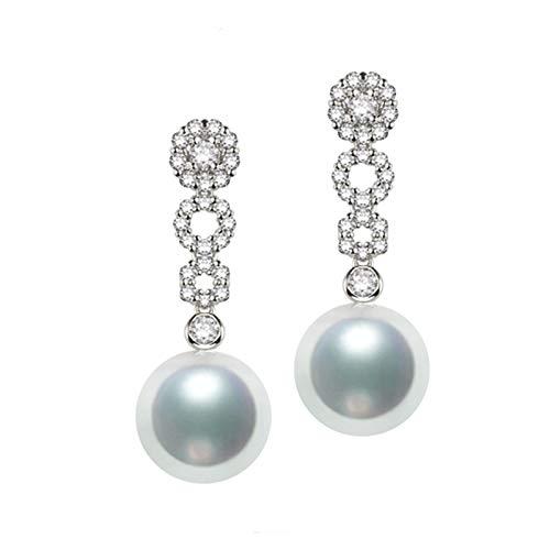 KnSam 18K Oro Blanco Pendiente, Arete Flor Forma con Perla Diamante Blanco, Perla Blanco, Color Oro Blanco