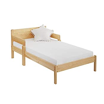 MUSEHOMEINC 2 in 1 Convertible Toddler Bed,Multifunctional Solid Wood Kids Bed w/ 2 Side Guardrails,Children Bed Frame Convert to 1 Sofa with Customized Mattress  Memory Form 4   Mattress Included