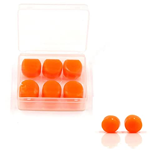 Reusable Silicone Ear Plugs,8Pairs Noise Cancelling Ear Plugs for Sleeping Swimming earplugs for Kids Adults(Orange)