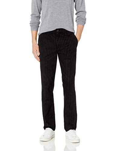 Amazon Brand - Goodthreads Men's Straight-Fit Wrinkle-Free Comfort Stretch Dress Chino Pant, Black Pinstripe 38W x 32L