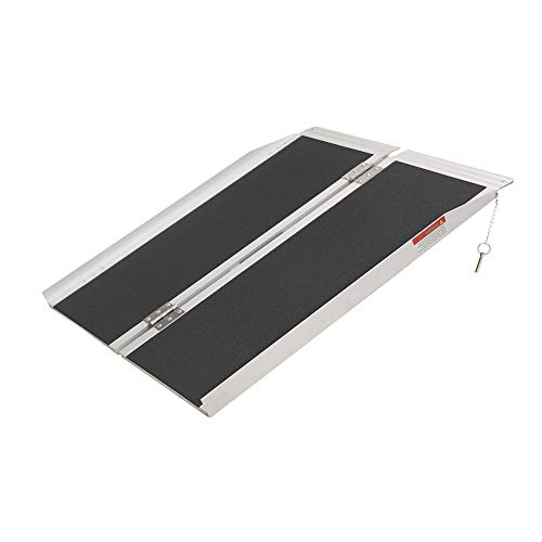 """3FT (31""""W x 36""""L) Wheelchair Ramp, Non-Slip Portable Aluminum Ramp for Wheelchairs Single-Fold 800lbs Weight Capacity for Steps Stairs and Thresholds"""