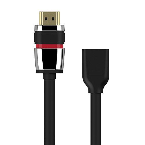 PureLink ULS010 High Speed Portsaver Adapter (HDMI-A Stecker auf HDMI-A Buchse) mit HDMI-Sicherheitsverschluss, 0,1m schwarz