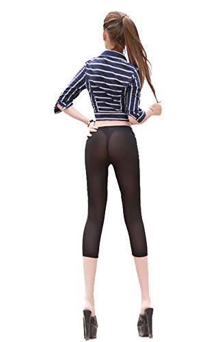 LinvMe Women's Sexy See Through Cropped Leggings...