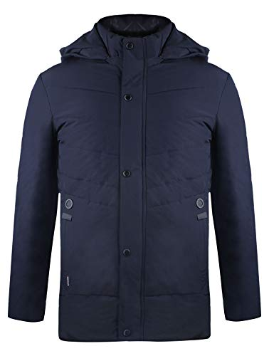 iloveSIA Men's Active Outdoor Quilted Down Jacket with Removable Hood Thicken Faux Fur Lined Winter Coat Blue XL