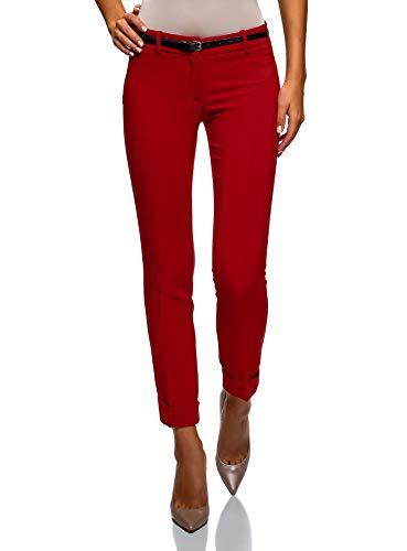 oodji Ultra Mujer Pantalones con Dobladillos y Cinturón, Rojo, ES 44 / XL