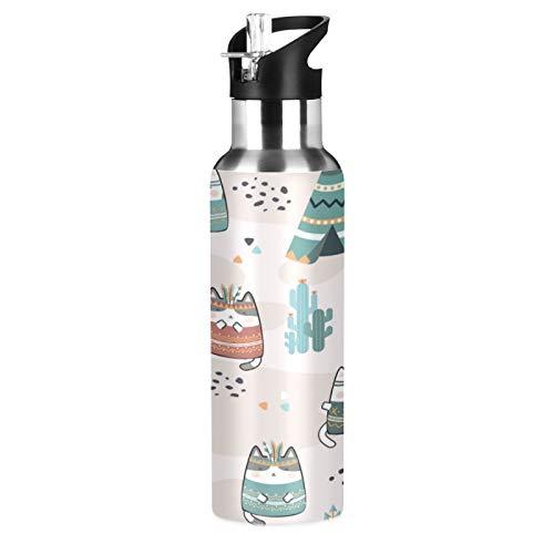 xigua Botella de agua deportiva con pajita, de acero inoxidable con aislamiento al vacío de doble pared con mango ancho, frasco de agua para entusiastas del aire libre, 650 ml