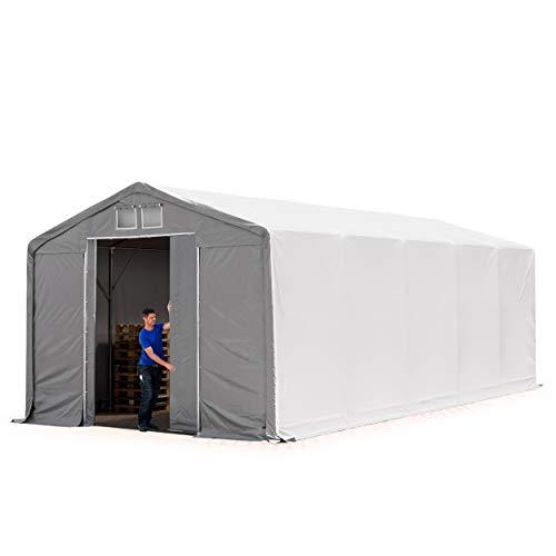 TOOLPORT Lagerzelt Zelthalle 5x10m mit Schiebetor - durchgehende ca. 550g/m² PVC Plane - Wasserdicht 3m Seitenhöhe