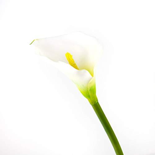 artplants.de Set 3 x Künstliche Calla, weiß, natürlich anfühlend, 70cm, 8x12cm - Kunstblume - künstliche Blume