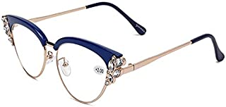 TT WARE Women Ultra-Light Cat Eye Frame Computer Reading Glasses with Rhinestone-Blue-1.5