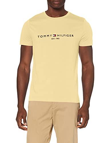 Tommy Hilfiger Organic Cotton Logo T-Shirt Camiseta, Amarillo Delicado, S para Hombre