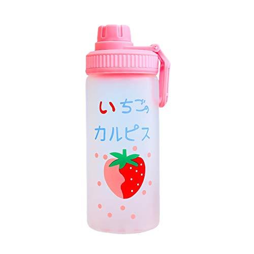 Shenykan Kawaii Erdbeer-Fruchtmilch-Wasserflasche Mit Stroh Niedlicher Cartoon Auslaufsichere Trinkflaschen Transparente Glaswasserflaschen