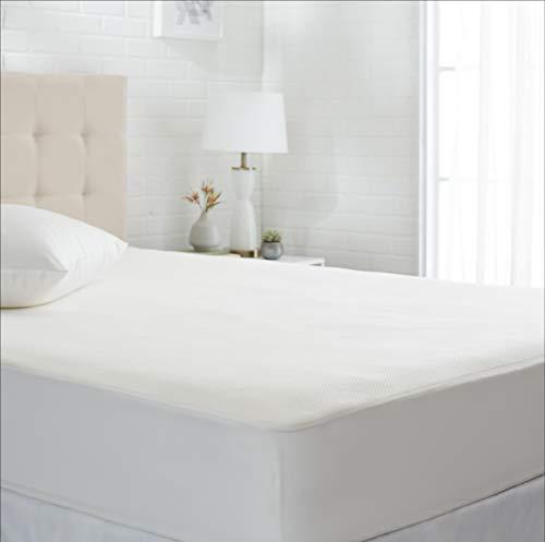 Amazon Basics - Protector de colchón de tejido de de tacto fresco, 135 x 190 cm