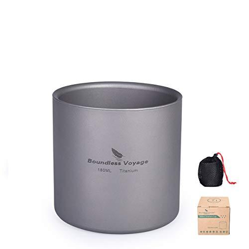iBasingo 3 in 1 Doppelwandige Titanbecher Mini Isolierte Outdoor Camping Tasse Faltbare Kaffee-Teetassen Leichtes Langlebiges Geschirr für Täglich Gebrauchtes Wandern Backpacking 180 ml Ti15153I