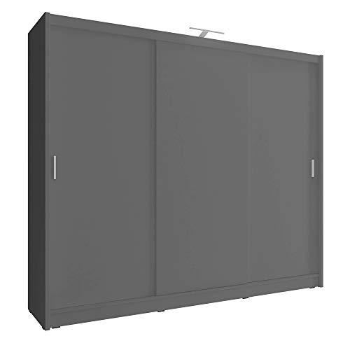 Sarah I 250 3 puertas correderas dormitorio grande LED estilo moderno armario - gris
