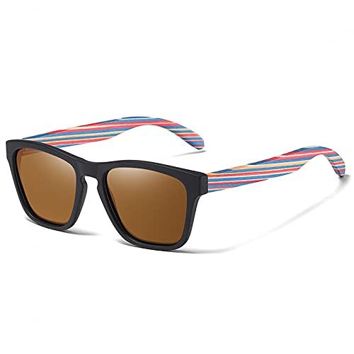 YDDLIE Gafas de sol de madera retro Gafas de sol para hombres y mujeres Gafas polarizadas Gafas de sol de madera para patinetas