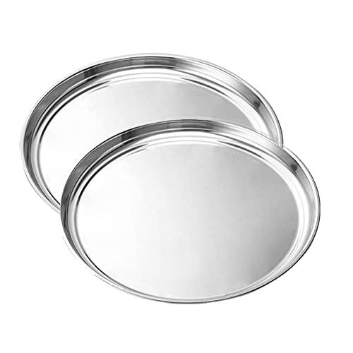 FDKJOK Bandeja para pizza, de acero inoxidable para horno, resistente y apto para lavavajillas (tamaño: 2 unidades)
