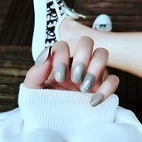 24PCSフランスは、楕円形の短いピンクの優雅な結晶偽爪フルカバー偽の爪をグラデーション (Color : Grey Starry Sky)