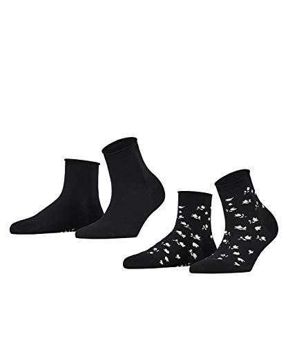 ESPRIT Damen Mini Flower 2-Pack W SSO Socken, Schwarz (Black 3000), 39-42 (2er Pack)