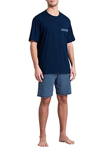 Schiesser Herren Schlafanzug kurz Pyjamaset, dunkelblau, 58