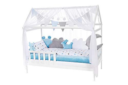 NIUXENDESIGN® HB-01 Baby Bett Haus Kinderbett 140x70 Juniorbett Inkl. Bettset, Matratze, Kissen, Design: Big Sterne (Minky blau, grau)