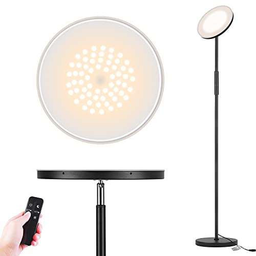 Floor Lamp, Garryliting LED Sky Super Bright Torchiere Lamp with 5 Color Temperatures Stepless Dimmable Remote & Touch Control, 24W/2000lm Modern Tall Floor Lamp for Living Room, Bed Room, Office