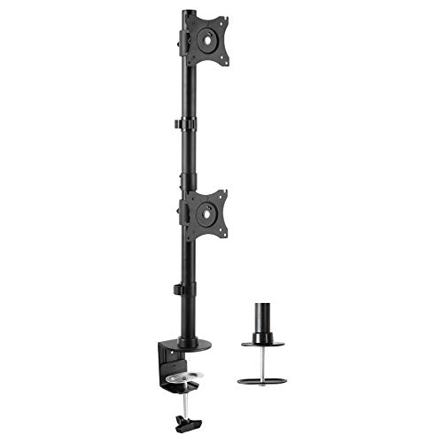 VIVO Dual Computer Monitor Desk Mount Stand Vertical Array for 2 Screens up to 27 inches STAND-V002R