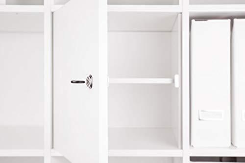 INWONA Abschließbare Tür für IKEA Kallax Regal Schließsystem: verschiedenschließend/mit Regalboden/Kallax Tür mit Schloß und Rückwand in weiß - ideal für Lehrerzimmer Arbeitszimmer Kindersicherung …