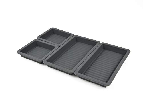 Gear Gurus Baking Pan Dividers - Silicone Baking Trays, Sheet Pan Cooking, Nonstick 4 Piece Set, Reinforced Rims, Ribbed Bottoms, Oven Dishwasher Safe