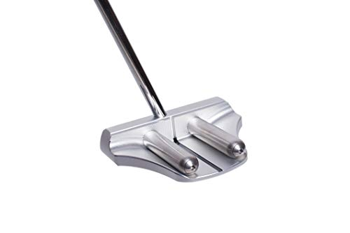 Rife Golf Right Handed Silver Two Bar Mallet Putter Patented Roll Groove Technology with Adjustable Weight System. Center Shaft Makes It Perfect for Lining up Your Putts (Right, 34)