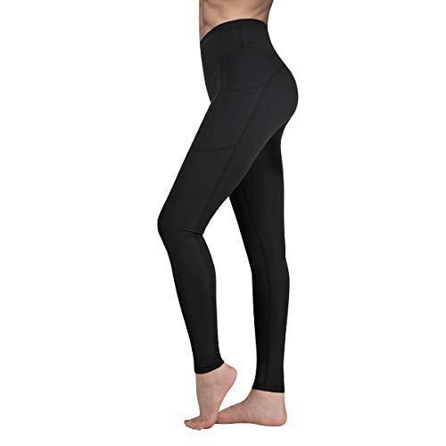 Ollyrnns Leggins Sportivi Donna Vita Alta Leggings con Tasche Push Up Fitness Allenamento Yoga Palestra Pantaloni CA166 (Nero, Medium)
