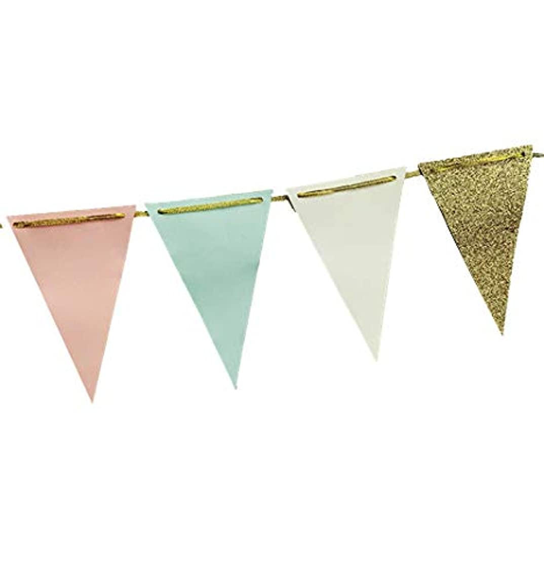 Fonder Mols 10-feet Triangle Bunting Paper Garland Decorations Tribe Party Banner for Wedding Party, Baby Shower, Girl Room Nursery Decoration (Ivory+Peach+Mint+Gold Glitter)