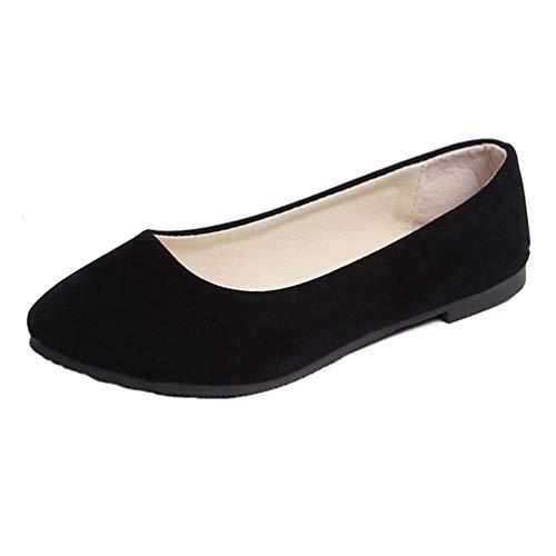 TieNew Women Loafer Flats Ladies Slip On Flat Comfort Walking Ballerina Shoes Summer Loafer Flats UK 2.5-8.5 Size Black