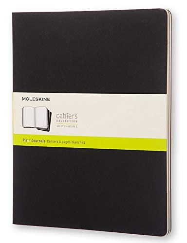 Moleskine Cahier Journal, Soft Cover, XXL (8.5 x 11) Plain/Blank, Black, 120 Pages (Set of 3)