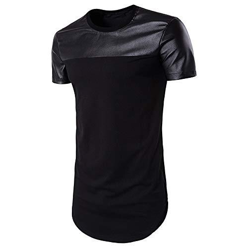Casuales Shirt Hombre Verano Moderno Imitación Cuero Hombre Deportiva Camisa Cuello Redondo Manga Corta T-Shirt Básica Estirarse Correr Shirt Transpirable Casual Shirt B-Black XL