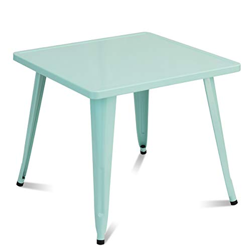 COSTWAY Kindertisch blau, Spieltisch für Kinder, Kinderspieltisch quadratisch, Tisch aus Metall für Kinderzimmer