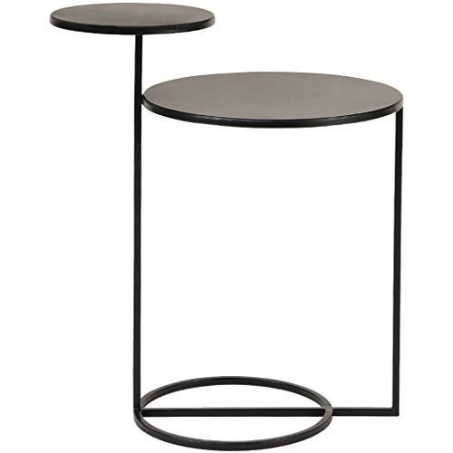 AKaCe-Tables basses Fer Side Table/Simple Plante Stand, Double Couche Panneau, Texture Noir Mat, Facile à Transporter, Meubles de décoration for Le Salon
