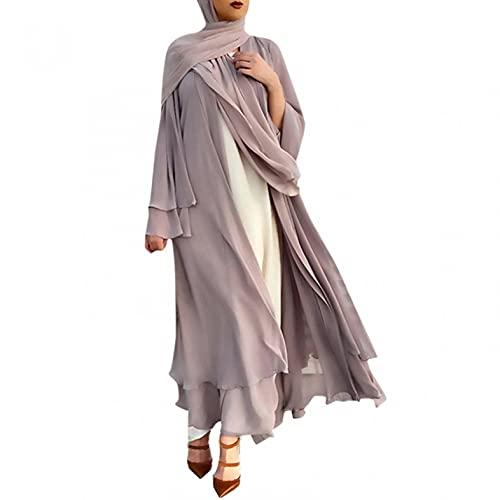 Muslimische Roben Kleider Damen Islamische Druck Elegant Slim Lang Kleid Maxikleid Arab Dubai Kaftan Frauen Einfarbig Gebetskleidung Schlank Nahen Ostens Abaya Türkisch Abendkleid Vintage Gown