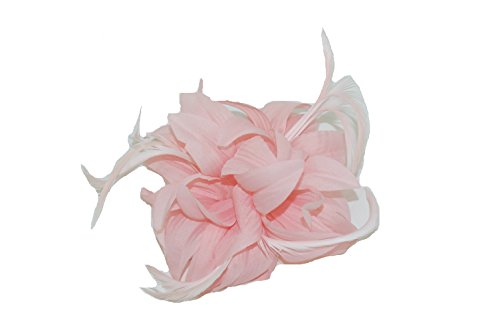 GIZZY® Ladies Pale Pink Petals and Feathers Fascinator on Hair Clip & Brooch Pin., One Size