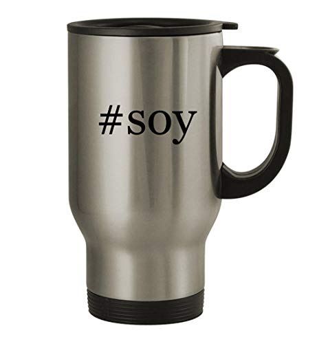 #soy - 14oz Stainless Steel Travel Mug, Silver
