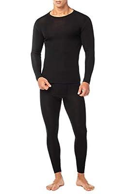 LAPASA Men's 100% Merino Wool Thermal Underwear Long John Set Lightweight Base Layer Top and Bottom M31 (Medium, Black)