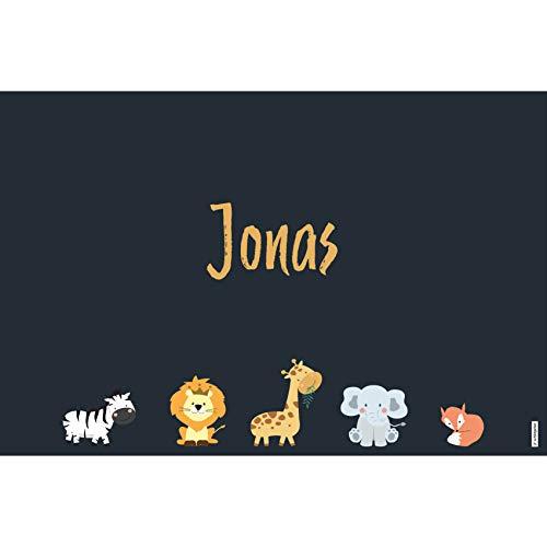 schildgetier Jonas Türschild Namensschild Jonas Geschenk mit Namen und süßen Tier Motiven 30 x 20 cm Dekoschild Schild mit Tieren