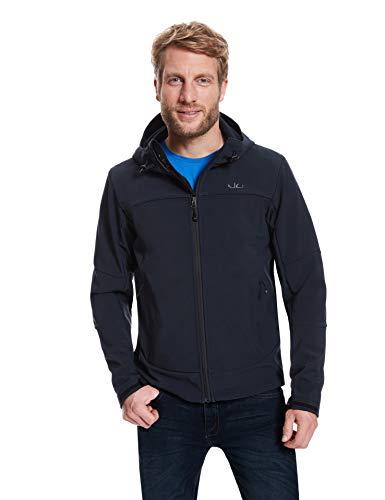 Jeff Green Herren Winddichte Wasserabweisende Atmungsaktive Softshell Jacke Kapuze Calais, Größe - Herren:L, Farbe:Black