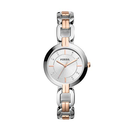 Fossil Women's Kerrigan Quartz Stainless Three-Hand Watch, Color: Two-Tone (Silver/Rose Gold) (Model: BQ3341)