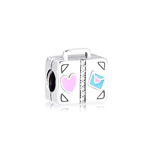 Diy Fits For Original Pandora Bracelets 925 Sterling Silver Travel Suitcase Metal Beads Charms Fit Bracelet Necklace Fashion Jewelry Making