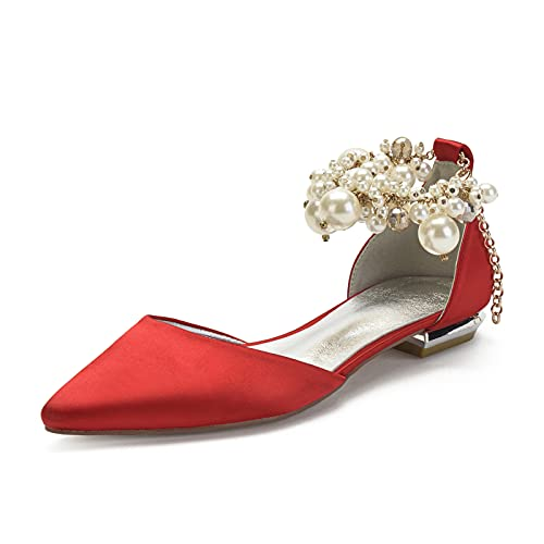 Gycdwjh Moda Zapatos de Novia, Verano Sandalias para Mujer con Pedrería Perla...