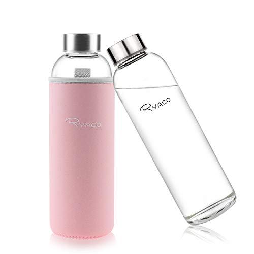 Ryaco Botella de Agua Cristal 550ml, Botella de Agua Reutilizable 18 oz, Sin BPA Antideslizante Protección Neopreno Llevar Manga y Cepillo de Esponja (550ml, Rosa Lindo)