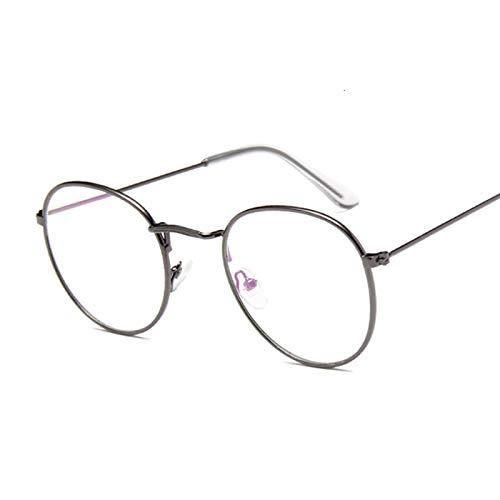 NJJX Montura De Gafas De Moda Vintage Redondas Para Mujer, Anteojos Ópticos De Metal, Lentes Transparentes Transparentes, Pequeño Círculo Ovalado Guntrans