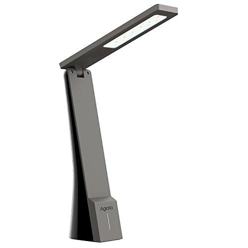 Aglaia Lampada da Tavolo Ricaricabile e Portatile, 4W Lampada LED da Scrivania e Lettura con 3 Livelli di Luminosità, Luce LED Dimmerabile per Temperatura di Colore per Protezione degli Occhi. (Nero + Grigio)