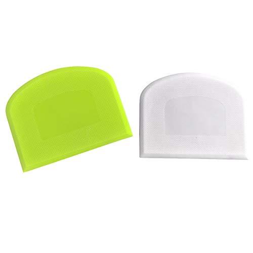 Bowl Scraper & Bench Scraper,Multipurpose Dough Kitchen Tool,Set of 2 Pieces - Green,White